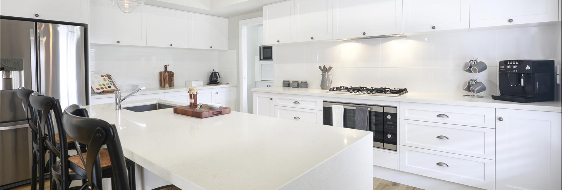 white waterfall ends kitchen renovation brisbane