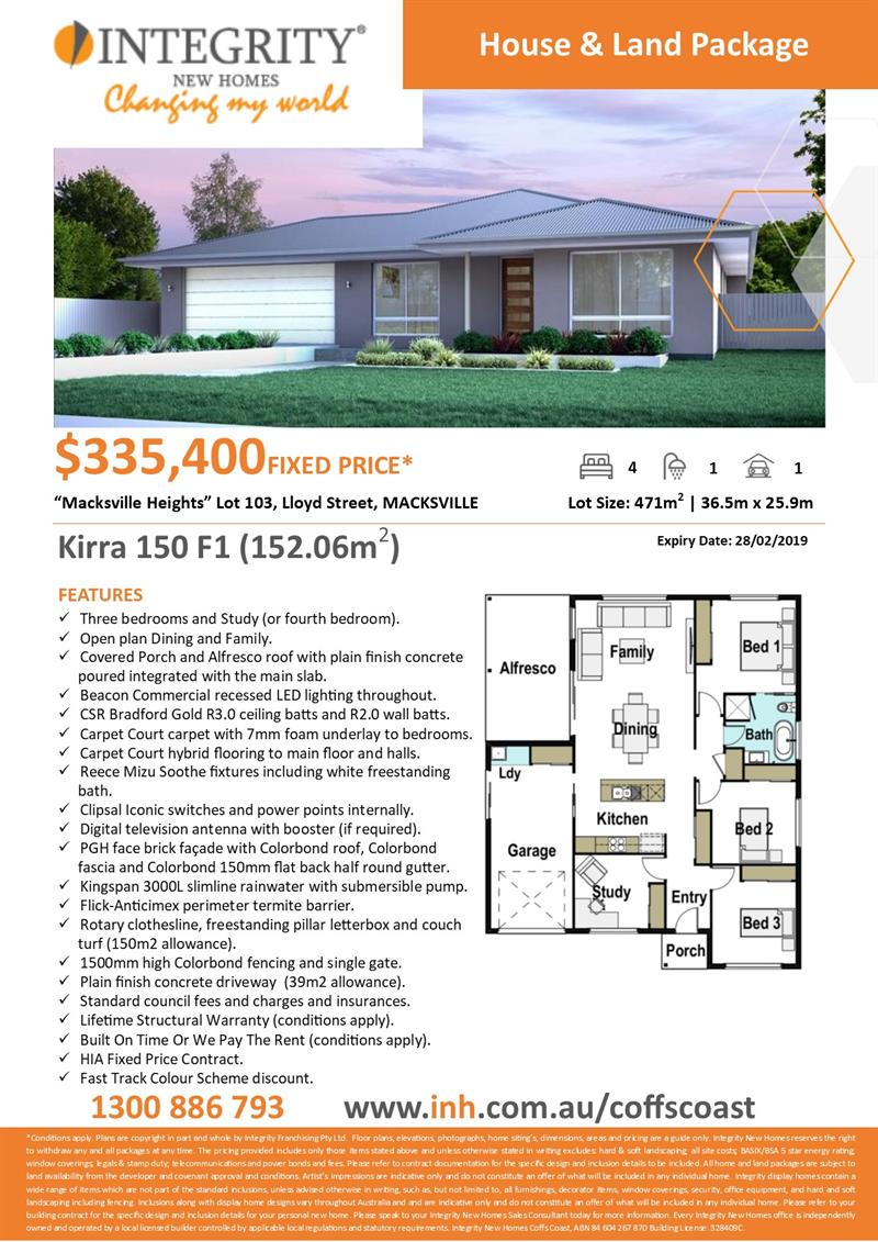 Proven small footprint home for first home buyers or investors (Kirra 150 F1). Integrity New Homes House And Land