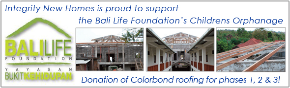 Integrity New Homes are proud to support the Bali Life Foundation