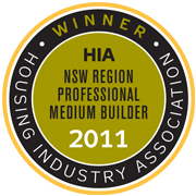 WINNER HIA NSW Professional Medium Builder of the Year 2011!